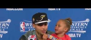 Riley Curry Makes Press Conference Appearance, Sings Drake