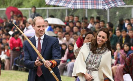 Prince William Prepares To Fire Arrow in Bhutan