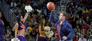 Will Ferrell Throws Basketball at Cheerleader