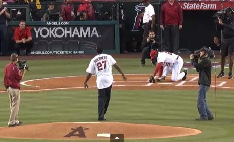 Don Baylor Breaks Leg on First Pitch