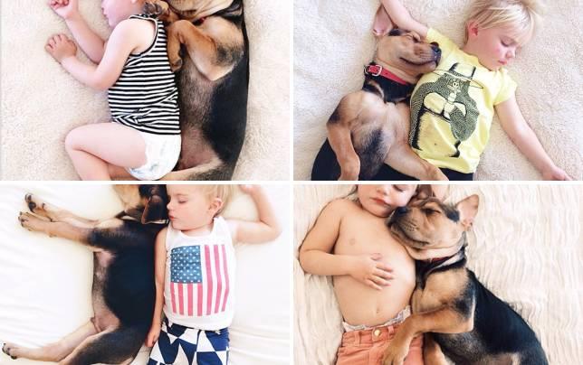 Baby and dog take a nap