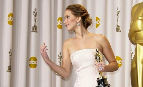Jennifer Lawrence Middle Finger Livens Up Academy Awards Press Room