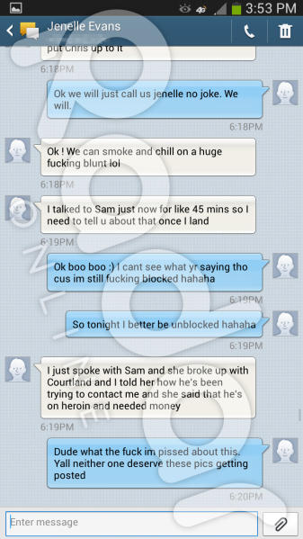 Jenelle Evans Text Re: WEED
