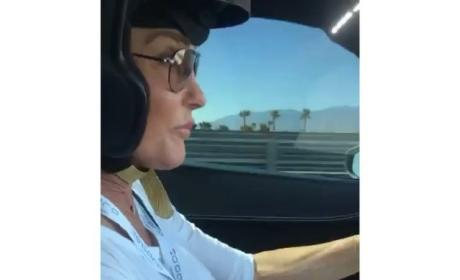 Caitlyn Jenner Driving a Race Car
