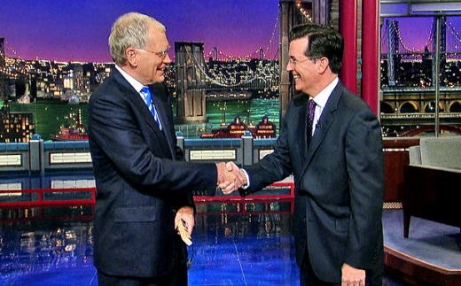 David Letterman and Stephen Colbert