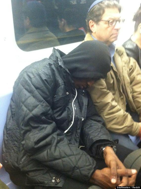 Stranger Sleeps on Subway Passenger