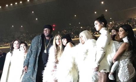 Kardashian-Jenner family at Yeezy Season 3 show