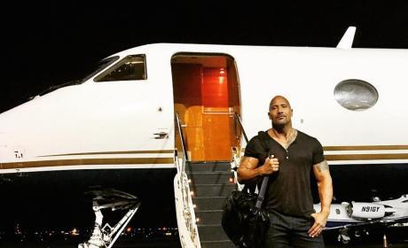 Dwayne Johnson and a Plane