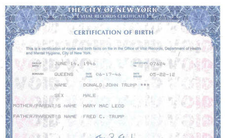 Donald Trump Birth Certificate