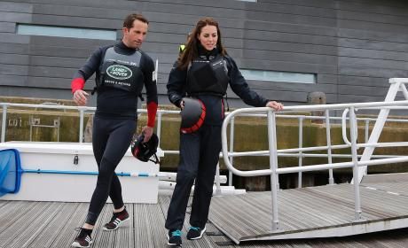 Kate Middleton and Ben Ainslie Boar Land Rover BAR's Training Boat