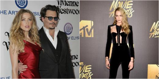 Amber Heard and Johnny Depp,  Cara Delevingne