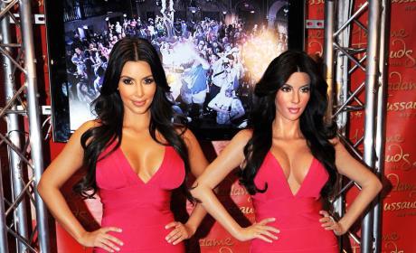 Kim Kardashian Poses Next To Wax Figure Red Dress