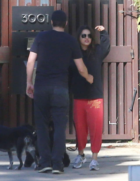 Mila Kunis and Ashton Kutcher Paparazzi Photo