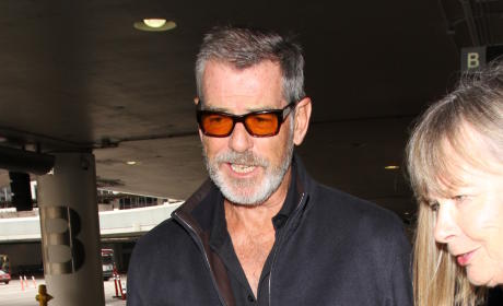 Pierce Brosnan Lands at LAX