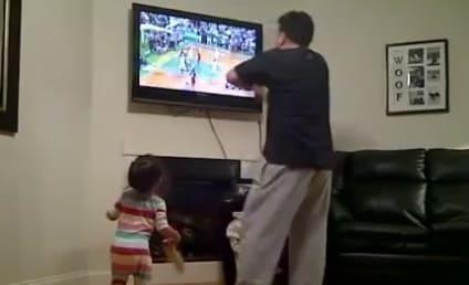 Celtics Fan Curses at TV, Daughter Follows Suit