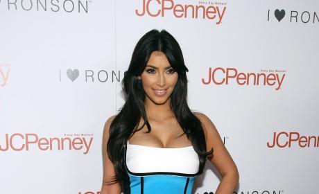 Kim Kardashian Blue White Dress I Heart Ronson Event
