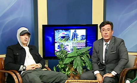 Stephen Colbert Interviews Eminem on Public Access Show