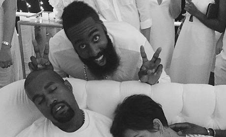 James Harden, Kris Jenner and Kanye West