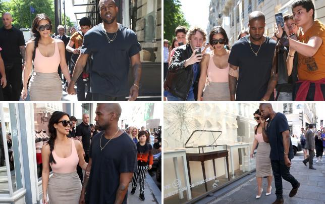 Kim and kanye shopping in paris