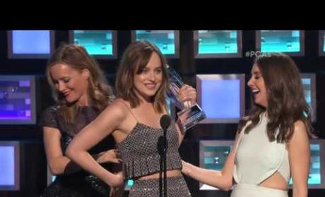Dakota Johnson Nearly Flashes PCA Audience