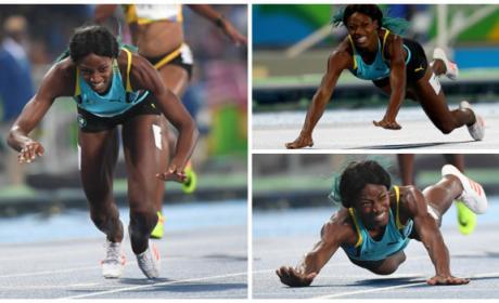 Shaunae Miller DIVES at Finish Line, Wins Gold Medal