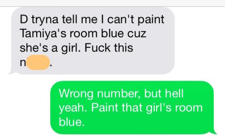 Dad Painting Daughter's Room Texts Wrong Number, Awesomeness Ensues