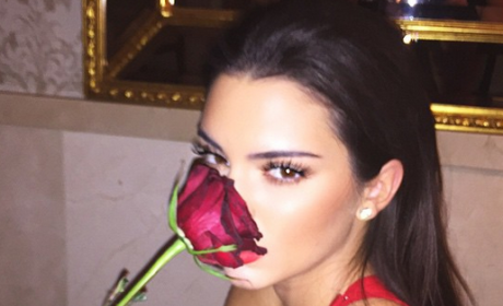 Kendall Jenner with a Rose