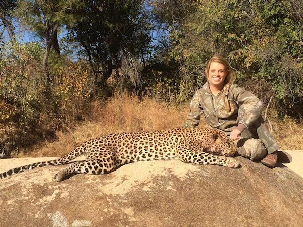 Kendall Jones with Dead Leopard