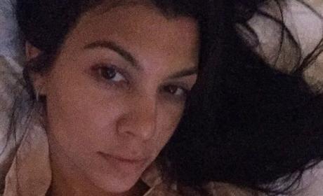 Kourtney Kardashian All Alone in Bed