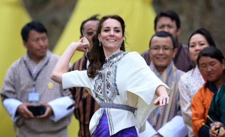 Kate Middleton Throws Dart During Bhutanese Sporting Demonstration
