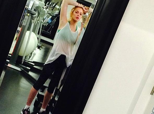 Lindsay Lohan Gym Selfie