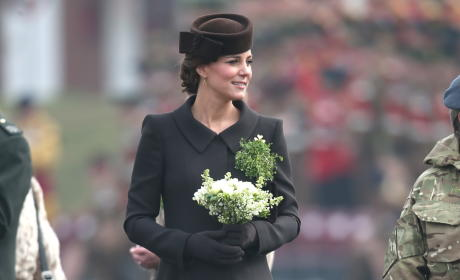 Kate Middleton Hands Out Shamrocks For St. Patrick's Day: She's Not Wearing Green!