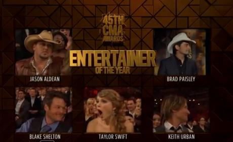 Taylor Swift Accepts CMA Award for Entertainer of the Year