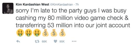 Kim Tweets About Making Money