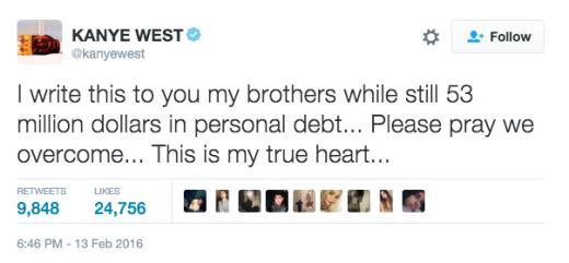 Kanye tweet - debt