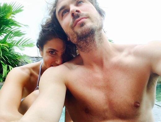 Shirtless Ian Somerhalder and Wife