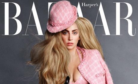 Lady Gaga Harper's Bazaar Cover: Singer Flaunts Cleavage, French Bulldog