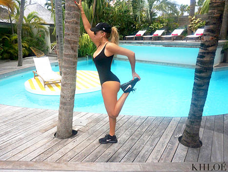 Khloe Kardashian Stretches