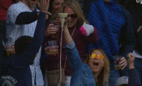 Cubs Fan Catch Foul Ball in Beer, CHUGS