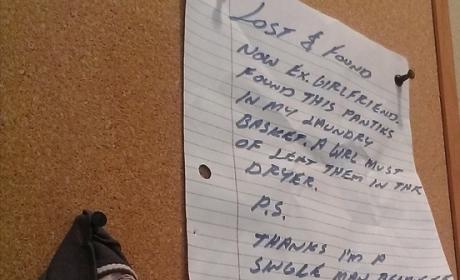 Woman Loses Panties at Laundromat, Unwittingly Inspires Breakup & Bulletin Board Material