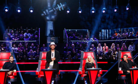 Adam Levine, Pharrell Williams, Christina Aguilera and Blake Shelton
