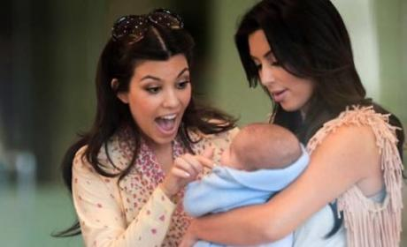 Kim Kardashian Baby Cradling