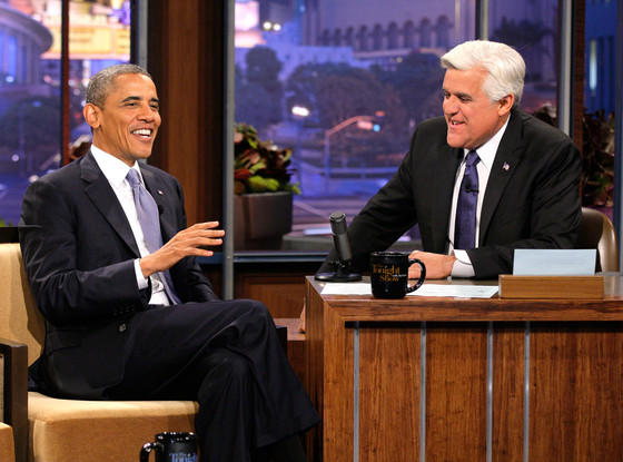 Barack Obama and Jay Leno