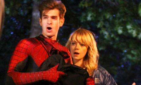 Andrew Garfield on Spider-Man Set