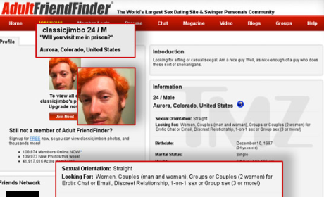 James Holmes Confirmed as Client on Adult Dating Site
