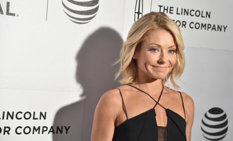 Kelly Ripa in black jumpsuit