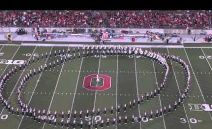 Ohio State University Marching Band Soars Across Field Like Superman