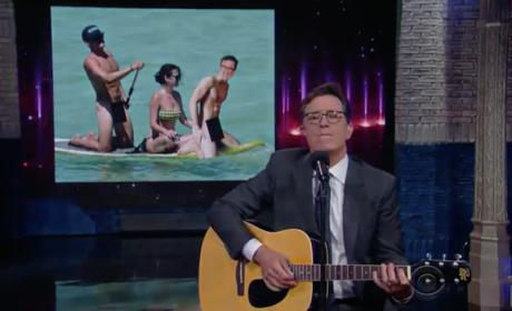 Stephen Colbert, Orlando Bloom and Katy Perry