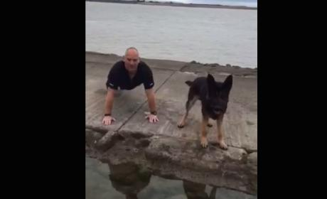 Police Dog Joins Handler for Push-Ups, Raises Awareness for Important Cause