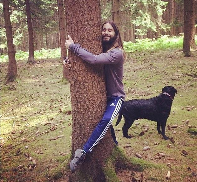 Jared Leto Hugs a Tree